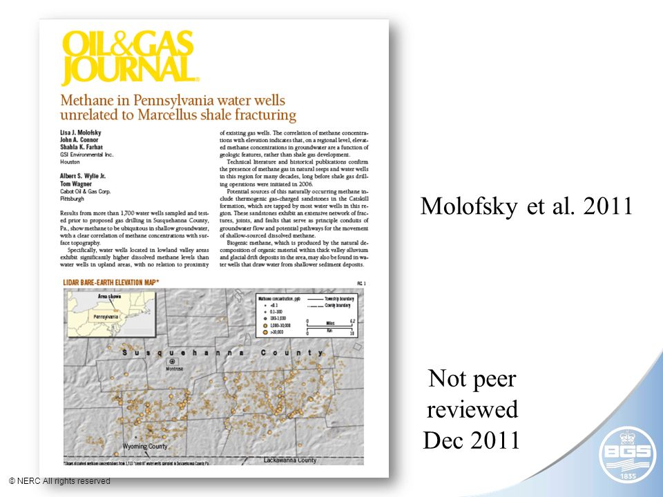 © NERC All rights reserved Not peer reviewed Dec 2011 Molofsky et al. 2011