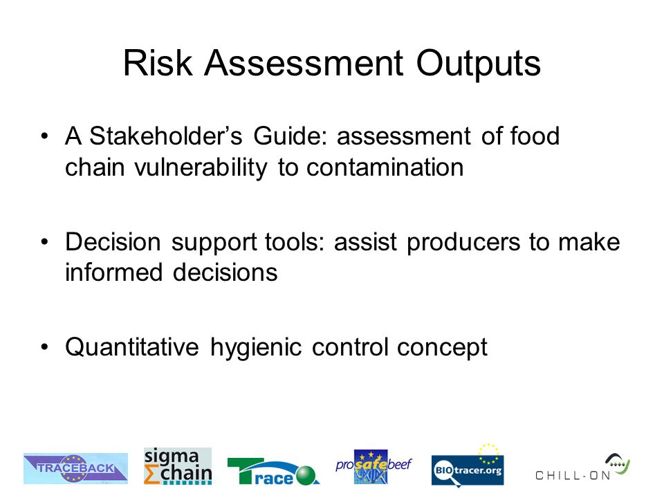 Risk Assessment Outputs A Stakeholders Guide: assessment of food chain vulnerability to contamination Decision support tools: assist producers to make informed decisions Quantitative hygienic control concept