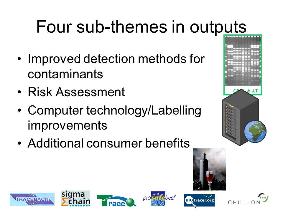 GDH + & AT + Four sub-themes in outputs Improved detection methods for contaminants Risk Assessment Computer technology/Labelling improvements Additio