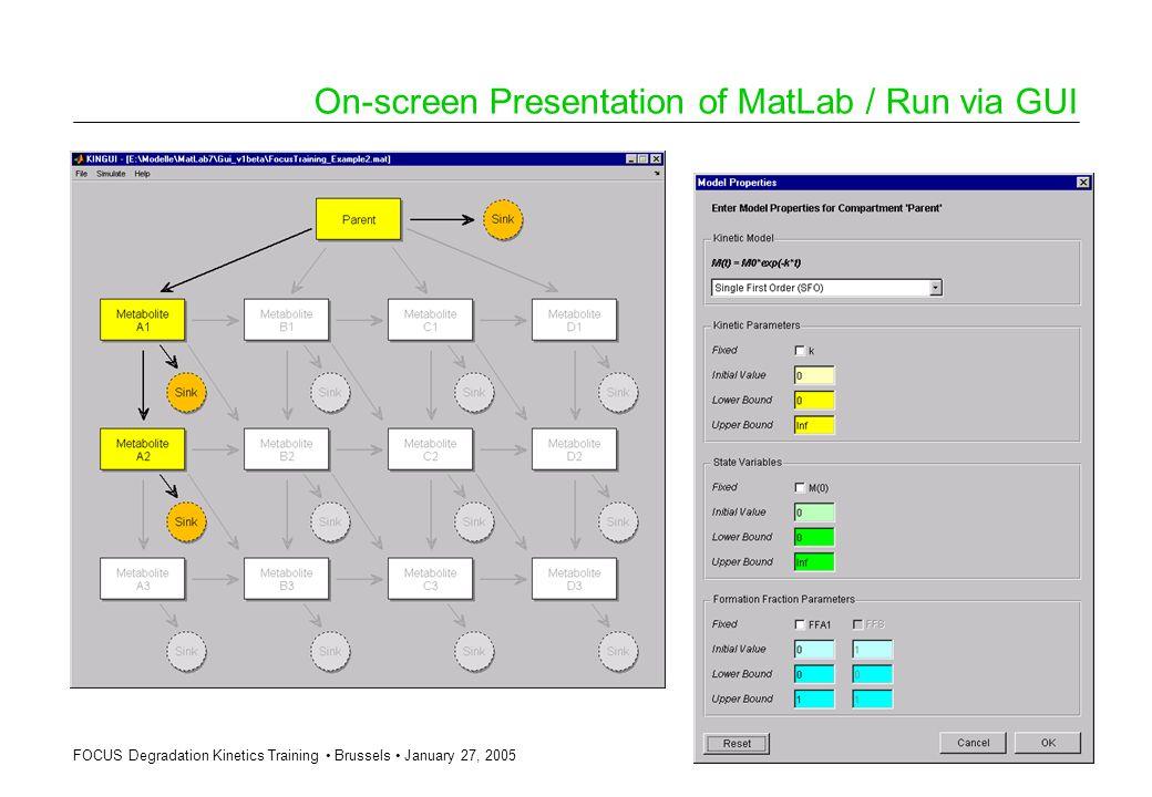 FOCUS Degradation Kinetics Training Brussels January 27, 2005 On-screen Presentation of MatLab / Run via GUI