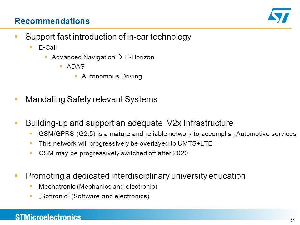 Recommendations Support fast introduction of in-car technology E-Call Advanced Navigation E-Horizon ADAS Autonomous Driving Mandating Safety relevant