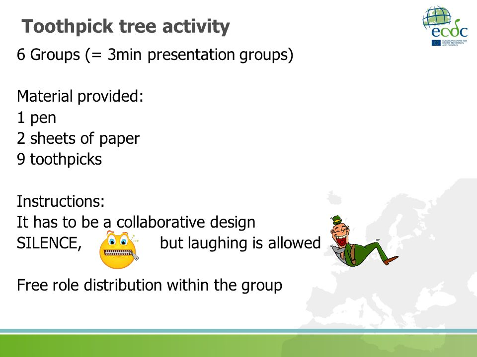 Toothpick tree activity 6 Groups (= 3min presentation groups) Material provided: 1 pen 2 sheets of paper 9 toothpicks Instructions: It has to be a collaborative design SILENCE, but laughing is allowed Free role distribution within the group