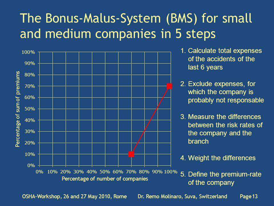 The Bonus-Malus-System (BMS) for small and medium companies in 5 steps OSHA-Workshop, 26 and 27 May 2010, Rome Dr.