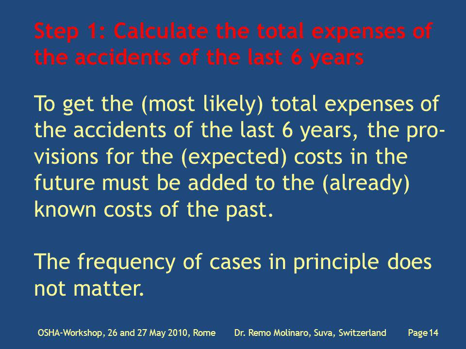 Step 1: Calculate the total expenses of the accidents of the last 6 years OSHA-Workshop, 26 and 27 May 2010, Rome Dr.