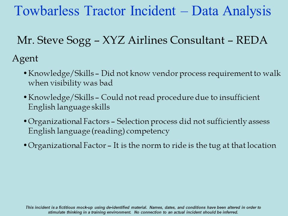 Towbarless Tractor Incident – Data Analysis Mr. Steve Sogg – XYZ Airlines Consultant – REDA Agent Knowledge/Skills – Did not know vendor process requi