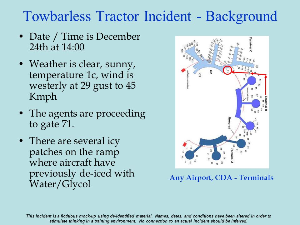 Towbarless Tractor Incident - Background Date / Time is December 24th at 14:00 Weather is clear, sunny, temperature 1c, wind is westerly at 29 gust to