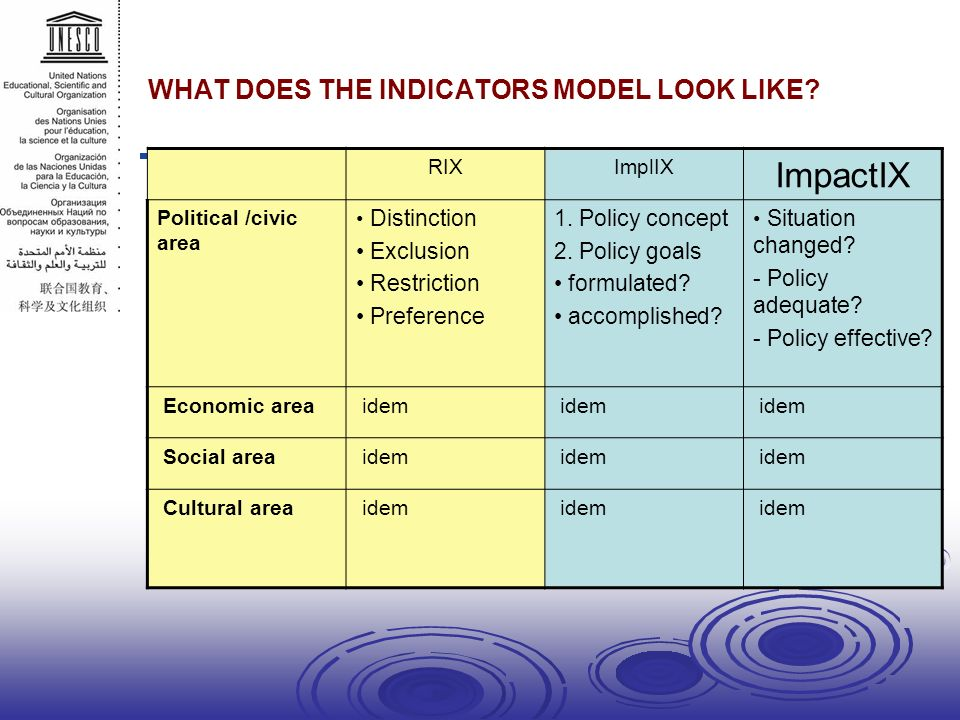 WHAT DOES THE INDICATORS MODEL LOOK LIKE.