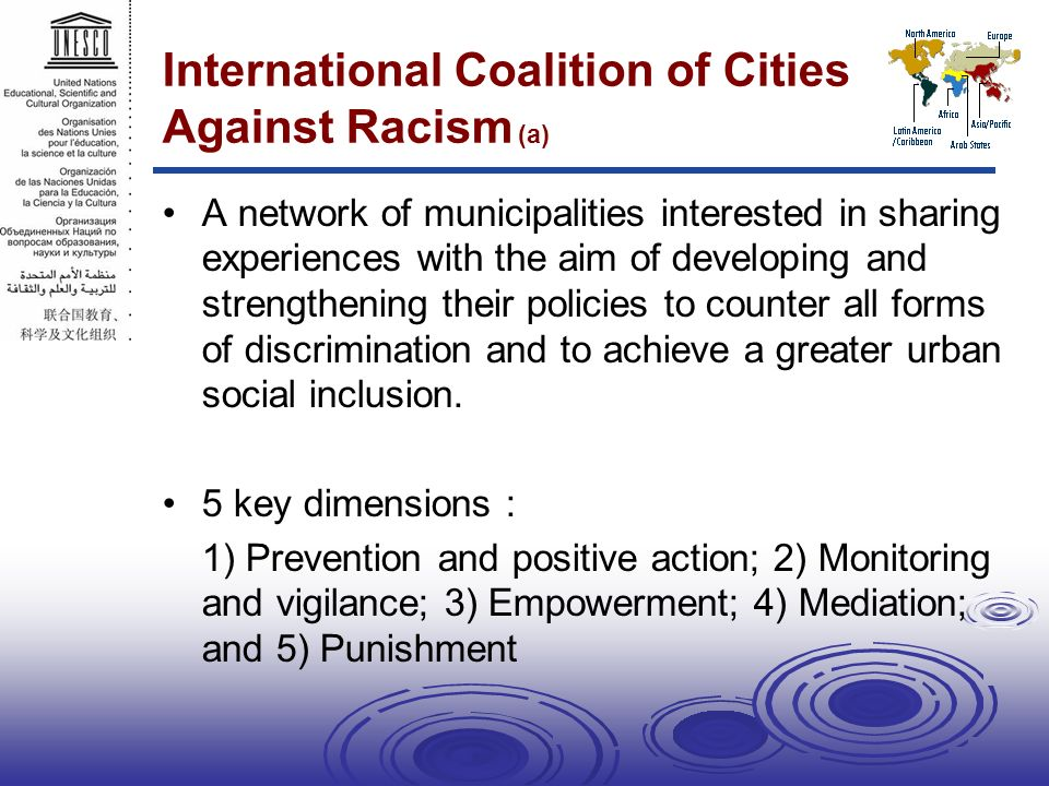 International Coalition of Cities Against Racism (a) A network of municipalities interested in sharing experiences with the aim of developing and strengthening their policies to counter all forms of discrimination and to achieve a greater urban social inclusion.