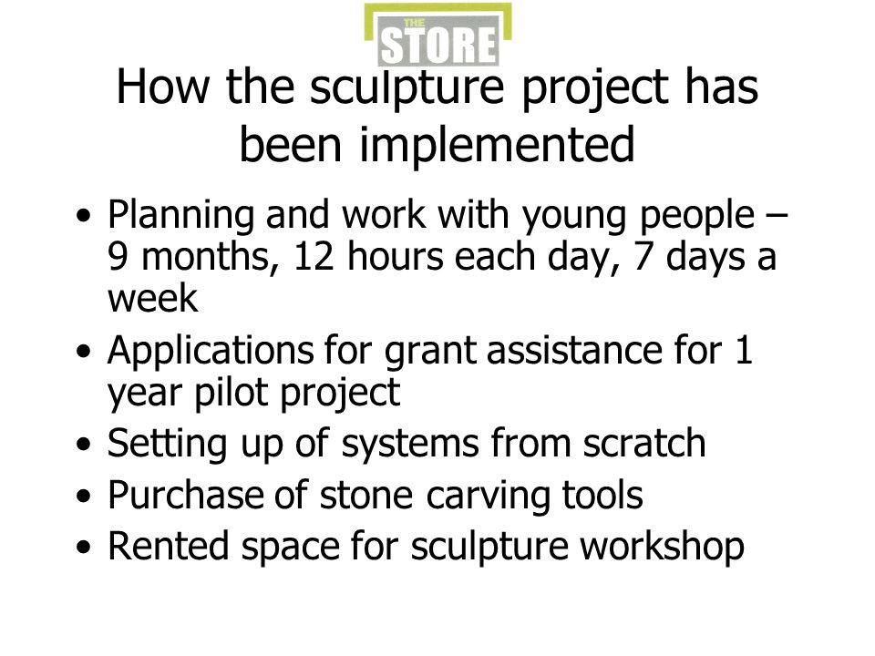 How the sculpture project has been implemented Planning and work with young people – 9 months, 12 hours each day, 7 days a week Applications for grant assistance for 1 year pilot project Setting up of systems from scratch Purchase of stone carving tools Rented space for sculpture workshop