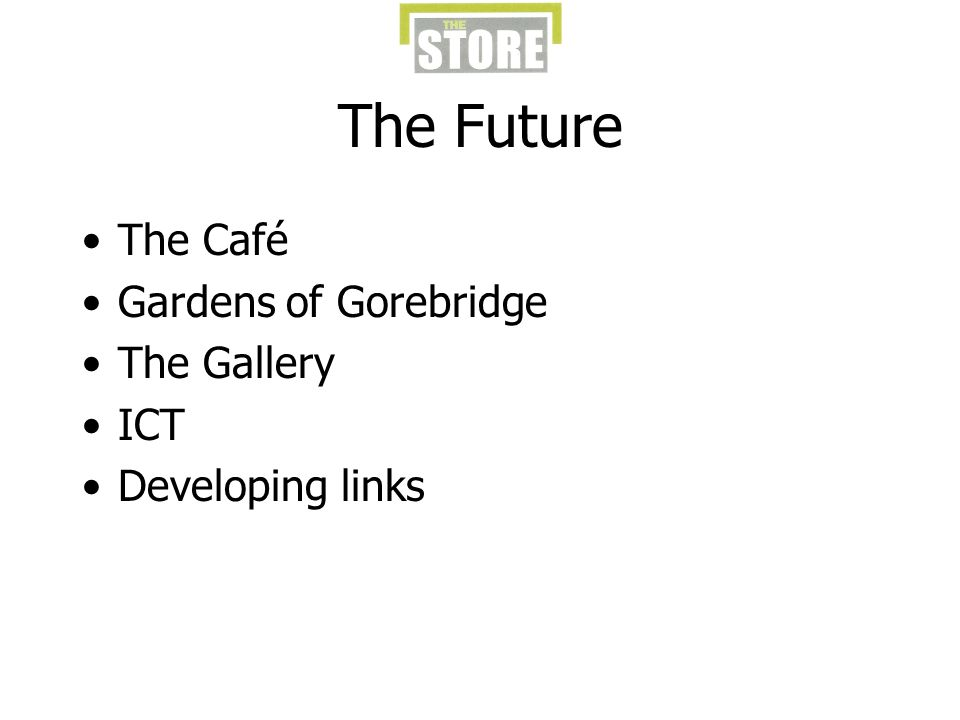 The Future The Café Gardens of Gorebridge The Gallery ICT Developing links
