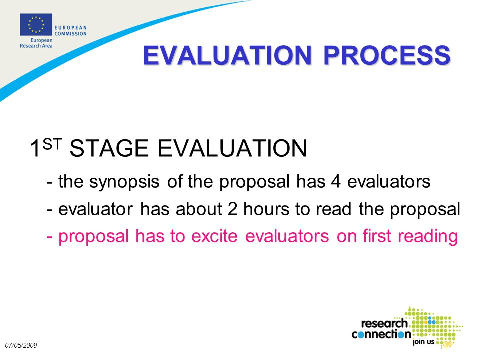 9 07/05/2009 EVALUATION PROCESS 1 ST STAGE EVALUATION - the synopsis of the proposal has 4 evaluators - evaluator has about 2 hours to read the proposal - proposal has to excite evaluators on first reading