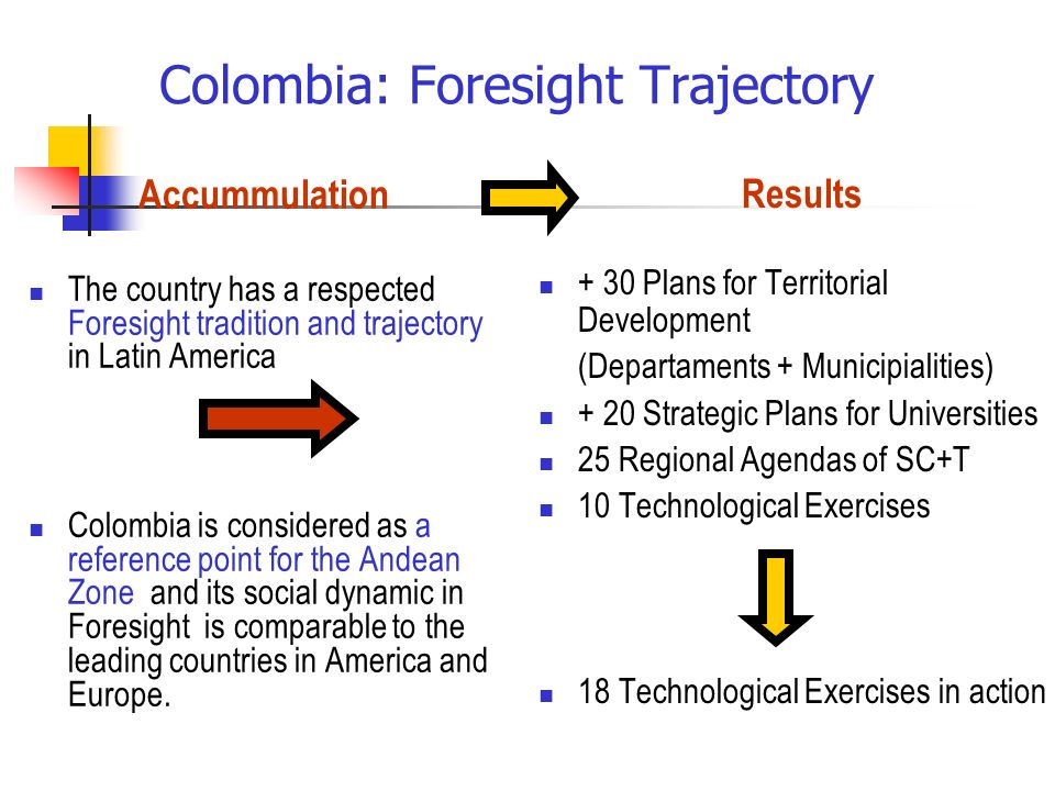 Colombia: Foresight Trajectory Accummulation The country has a respected Foresight tradition and trajectory in Latin America Colombia is considered as a reference point for the Andean Zone and its social dynamic in Foresight is comparable to the leading countries in America and Europe.