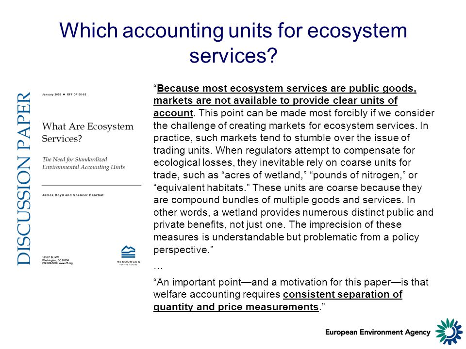 Which accounting units for ecosystem services.