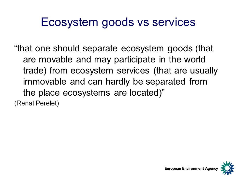 Ecosystem goods vs services that one should separate ecosystem goods (that are movable and may participate in the world trade) from ecosystem services (that are usually immovable and can hardly be separated from the place ecosystems are located) (Renat Perelet)