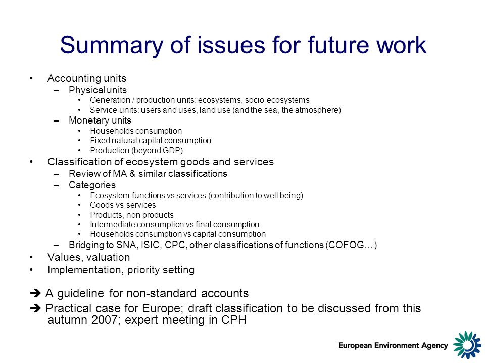 Summary of issues for future work Accounting units –Physical units Generation / production units: ecosystems, socio-ecosystems Service units: users and uses, land use (and the sea, the atmosphere) –Monetary units Households consumption Fixed natural capital consumption Production (beyond GDP) Classification of ecosystem goods and services –Review of MA & similar classifications –Categories Ecosystem functions vs services (contribution to well being) Goods vs services Products, non products Intermediate consumption vs final consumption Households consumption vs capital consumption –Bridging to SNA, ISIC, CPC, other classifications of functions (COFOG…) Values, valuation Implementation, priority setting A guideline for non-standard accounts Practical case for Europe; draft classification to be discussed from this autumn 2007; expert meeting in CPH