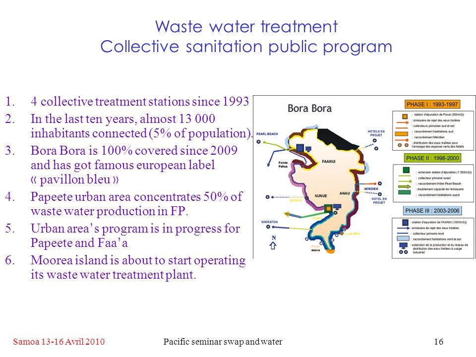 Samoa 13-16 Avril 2010Pacific seminar swap and water16 Waste water treatment Collective sanitation public program 1.4 collective treatment stations since 1993 2.In the last ten years, almost 13 000 inhabitants connected (5% of population).
