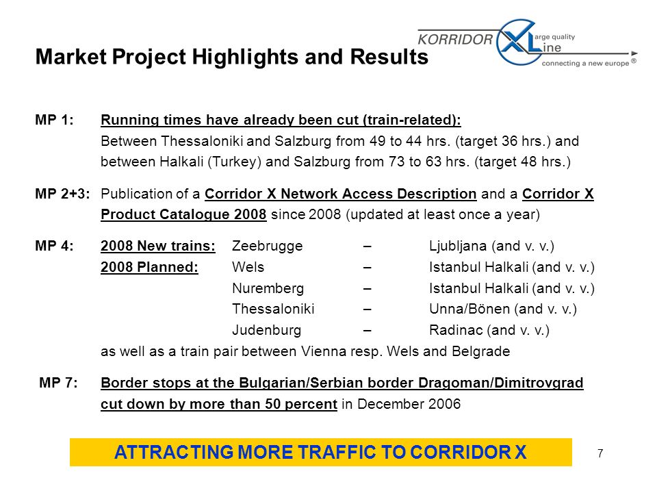 7 Market Project Highlights and Results MP 1:Running times have already been cut (train-related): Between Thessaloniki and Salzburg from 49 to 44 hrs.