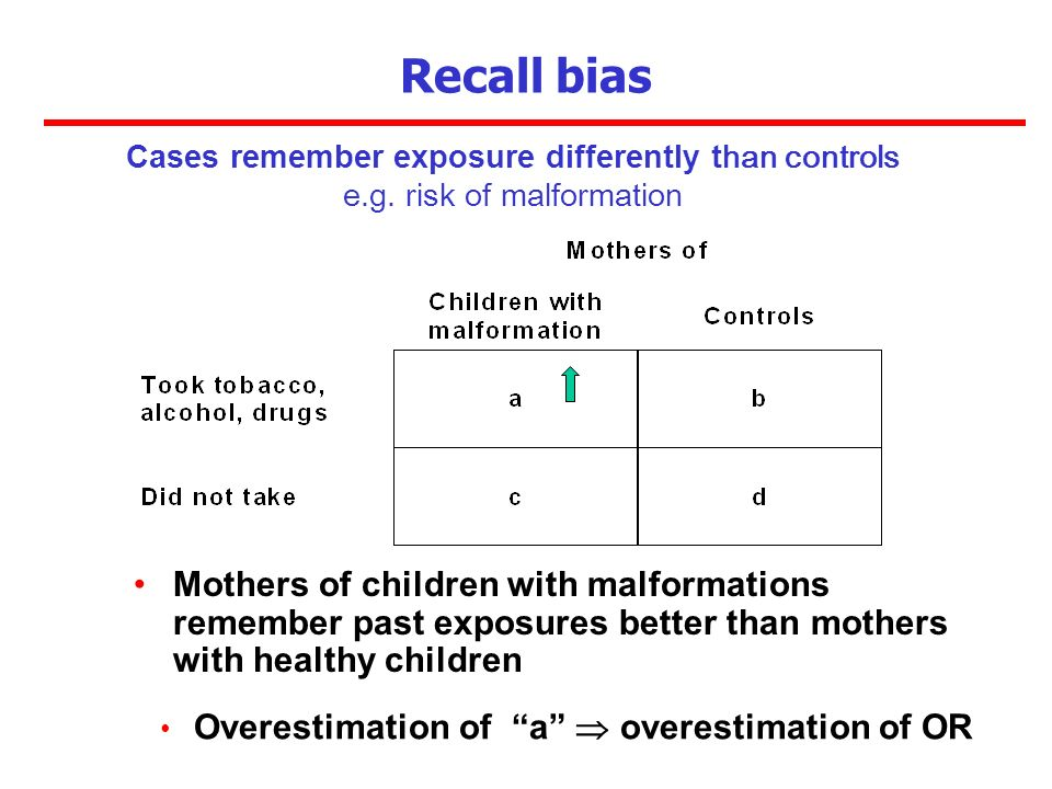 Mothers of children with malformations remember past exposures better than mothers with healthy children Recall bias Cases remember exposure different