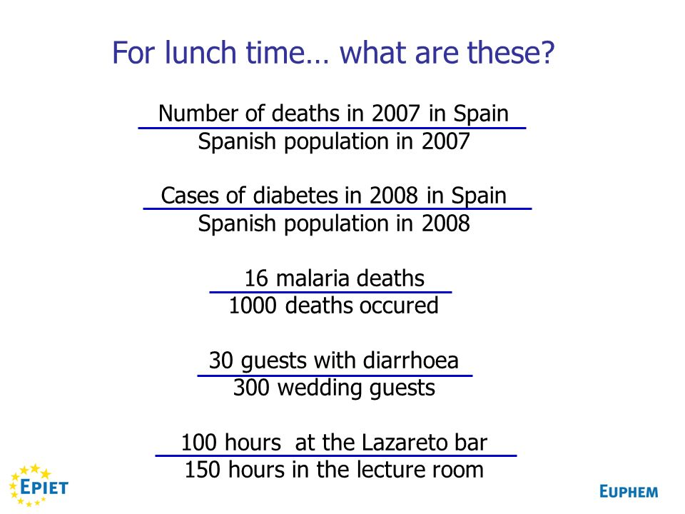 For lunch time… what are these? Number of deaths in 2007 in Spain Spanish population in 2007 Cases of diabetes in 2008 in Spain Spanish population in