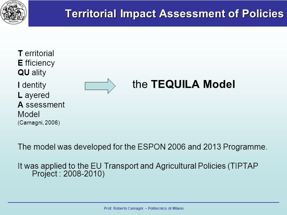 Territorial Impact Assessment of Policies Prof.