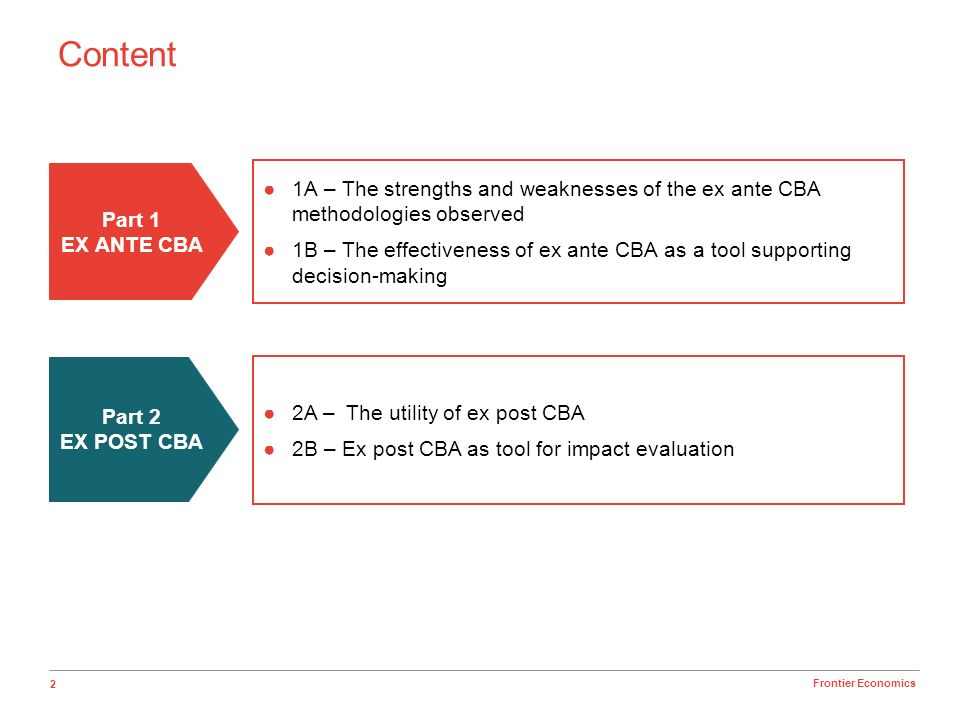 3 Frontier Economics 1A – Strengths and weaknesses of the ex ante CBA 1B – Effectiveness of ex ante CBA as a tool supporting decision-making EX ANTE CBA