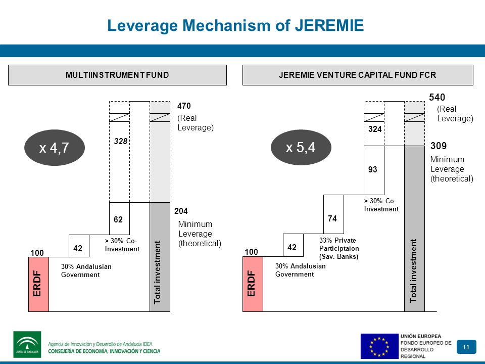 11 Leverage Mechanism of JEREMIE JEREMIE VENTURE CAPITAL FUND FCRMULTIINSTRUMENT FUND 30 328 470 x 4,7 100 30% Andalusian Government 204 ERDF 42 62 >