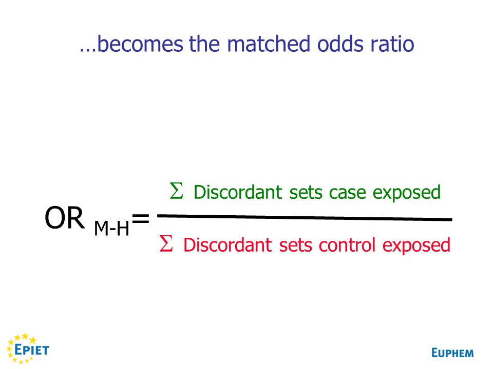 OR M-H = Discordant sets case exposed Discordant sets control exposed …becomes the matched odds ratio
