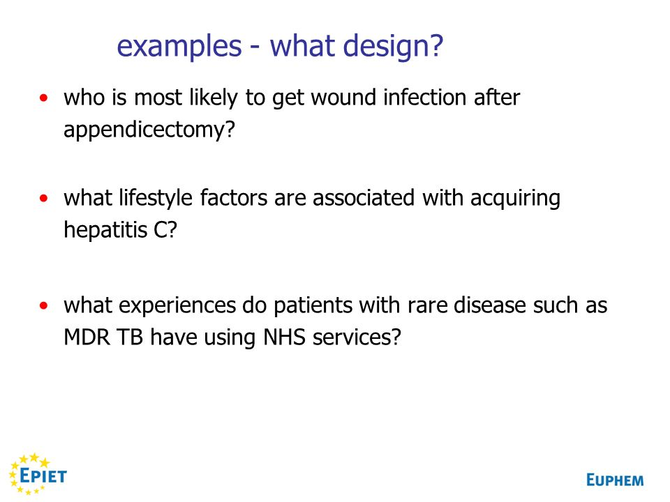 examples - what design.who is most likely to get wound infection after appendicectomy.