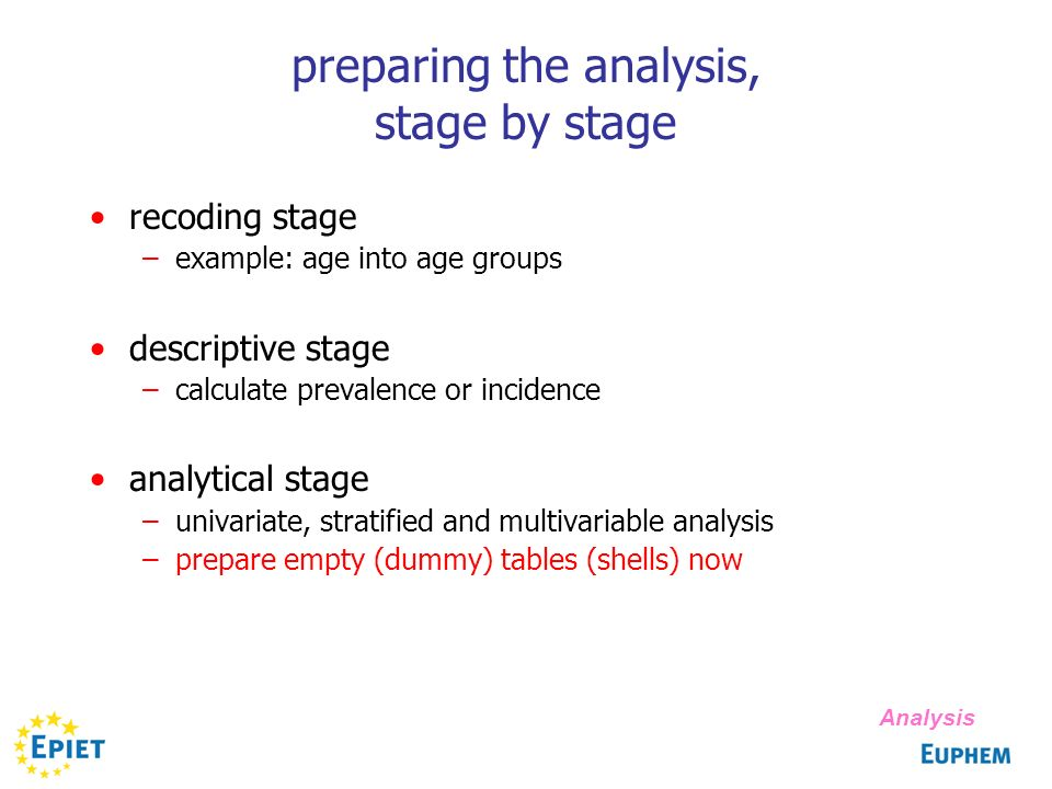 preparing the analysis, stage by stage recoding stage –example: age into age groups descriptive stage –calculate prevalence or incidence analytical stage –univariate, stratified and multivariable analysis –prepare empty (dummy) tables (shells) now Analysis
