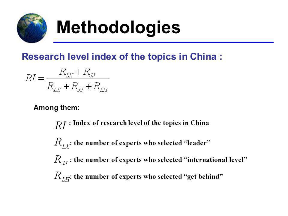 : Index of research level of the topics in China : the number of experts who selected leader : the number of experts who selected international level : the number of experts who selected get behind Research level index of the topics in China : Among them: Methodologies