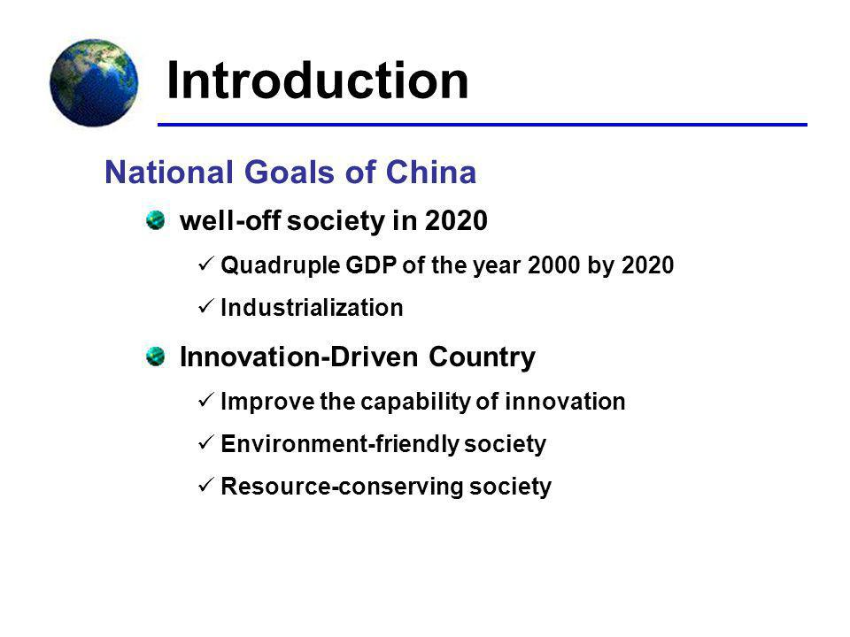 Introduction National Goals of China well-off society in 2020 Quadruple GDP of the year 2000 by 2020 Industrialization Innovation-Driven Country Improve the capability of innovation Environment-friendly society Resource-conserving society