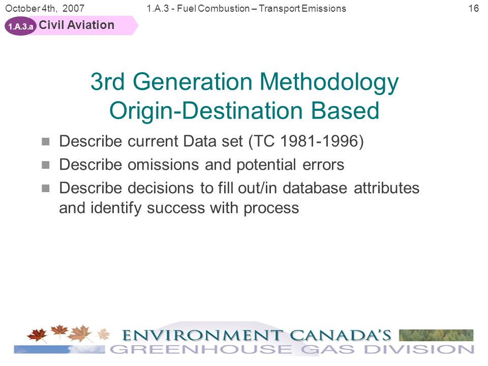 16 October 4th, 20071.A.3 - Fuel Combustion – Transport Emissions Civil Aviation 1.A.3.a Describe current Data set (TC 1981-1996) Describe omissions and potential errors Describe decisions to fill out/in database attributes and identify success with process 3rd Generation Methodology Origin-Destination Based