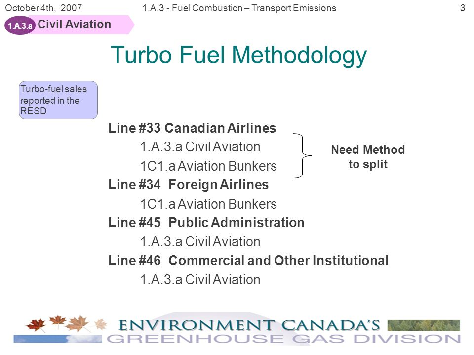 4 October 4th, 20071.A.3 - Fuel Combustion – Transport Emissions Civil Aviation 1.A.3.a Domestic and International Aviation fuel sales Sector Summary Tables Aviation Model Aviation Turbo fuel sales reported in the RESD Enplaned and deplaned passengers Regional allocates fuel sold to Canadian carries for domestic flights Tonne kilometres traveled by Canadian Carriers Calculate the percentage of the fuel sold to Canadian carriers used for domestic travel 2 nd Generation Methodology Tonne-kilometer (freight) Based