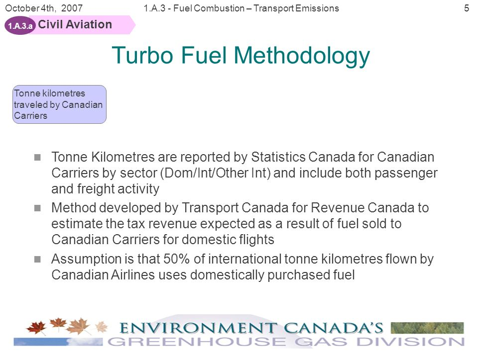 6 October 4th, 20071.A.3 - Fuel Combustion – Transport Emissions Civil Aviation 1.A.3.a Turbo Fuel Methodology Enplaned and deplaned passenger activity by sector is reported by Statistics Canada Regionally allocates domestic portion of the fuel sold to Canadian carriers to individual Canadian provinces for domestic reporting Enplaned and deplaned passengers