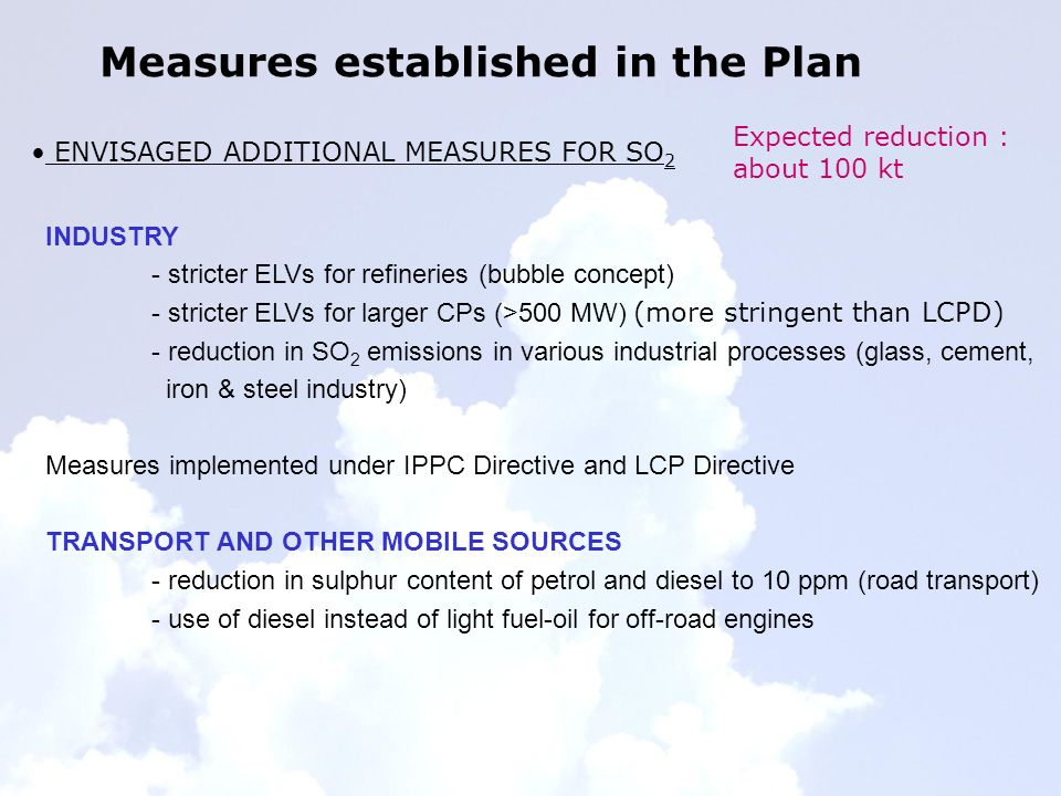 Measures established in the Plan ENVISAGED ADDITIONAL MEASURES FOR SO 2 INDUSTRY - stricter ELVs for refineries (bubble concept) - stricter ELVs for larger CPs (>500 MW) (more stringent than LCPD) - reduction in SO 2 emissions in various industrial processes (glass, cement, iron & steel industry) Measures implemented under IPPC Directive and LCP Directive TRANSPORT AND OTHER MOBILE SOURCES - reduction in sulphur content of petrol and diesel to 10 ppm (road transport) - use of diesel instead of light fuel-oil for off-road engines Expected reduction : about 100 kt