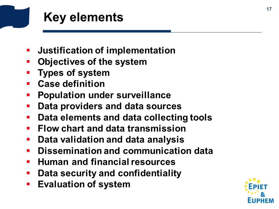 & 17 Key elements Justification of implementation Objectives of the system Types of system Case definition Population under surveillance Data provider