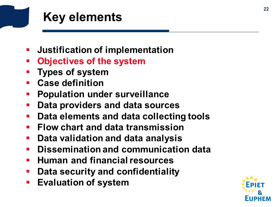 & 22 Key elements Justification of implementation Objectives of the system Types of system Case definition Population under surveillance Data provider