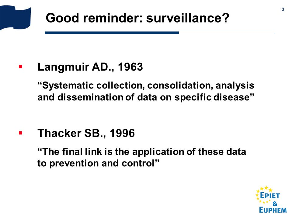 & 3 Good reminder: surveillance? Langmuir AD., 1963 Systematic collection, consolidation, analysis and dissemination of data on specific disease Thack