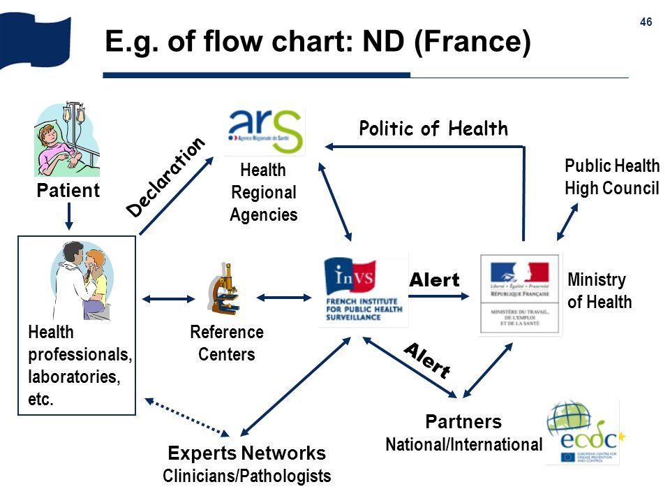& 46 E.g. of flow chart: ND (France) Patient Health professionals, laboratories, etc. Reference Centers Experts Networks Clinicians/Pathologists Partn