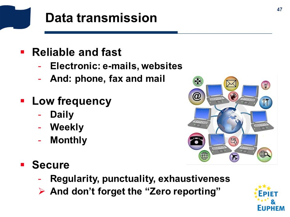 & 47 Data transmission Reliable and fast Electronic: e-mails, websites And: phone, fax and mail Low frequency Daily Weekly Monthly Secure Regula