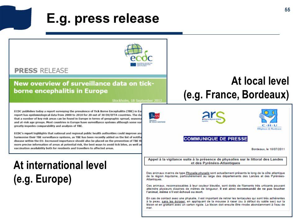 & 55 E.g. press release At international level (e.g. Europe) At local level (e.g. France, Bordeaux)