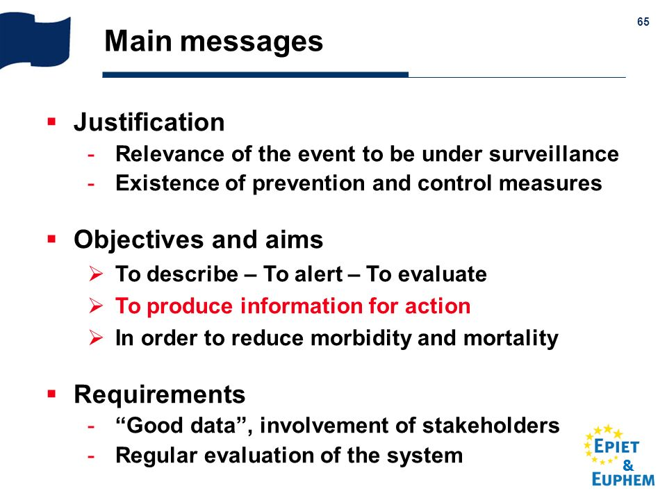 & 65 Main messages Justification -Relevance of the event to be under surveillance -Existence of prevention and control measures Objectives and aims To