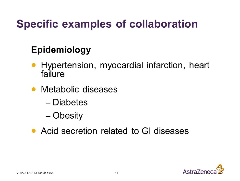 2005-11-10 M Nicklasson 11 Specific examples of collaboration Epidemiology Hypertension, myocardial infarction, heart failure Metabolic diseases – Diabetes – Obesity Acid secretion related to GI diseases