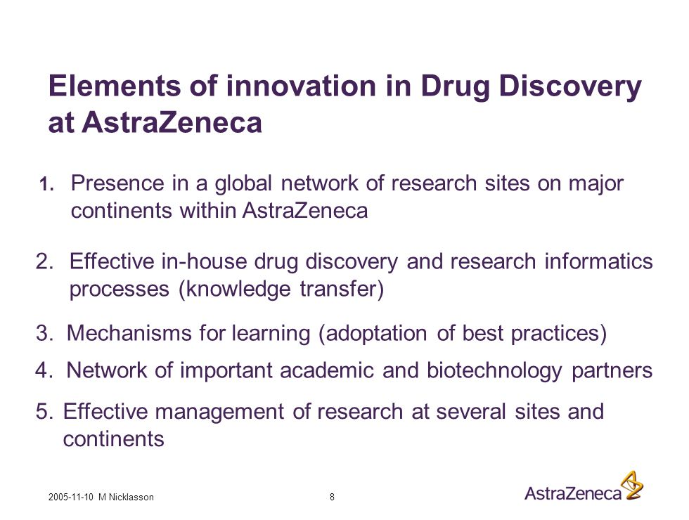 2005-11-10 M Nicklasson 8 Elements of innovation in Drug Discovery at AstraZeneca 1.
