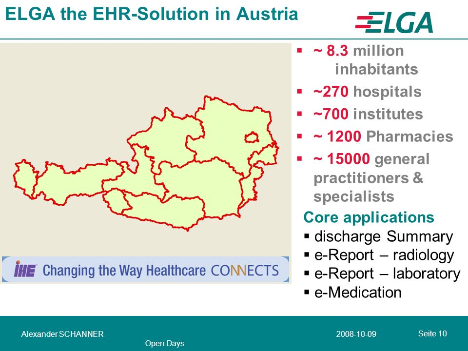 Seite Alexander SCHANNER Open Days ELGA the EHR-Solution in Austria ~ 8.3 million inhabitants ~270 hospitals ~700 institutes ~ 1200 Pharmacies ~ general practitioners & specialists Core applications discharge Summary e-Report – radiology e-Report – laboratory e-Medication