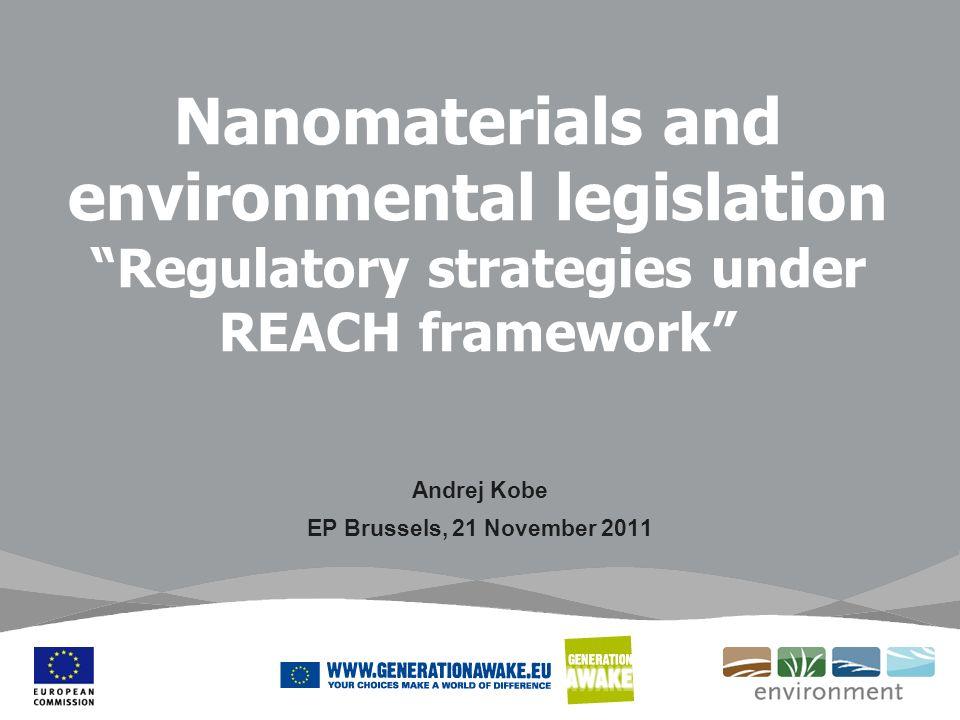 Nanomaterials and environmental legislation Regulatory strategies under REACH framework Andrej Kobe EP Brussels, 21 November 2011