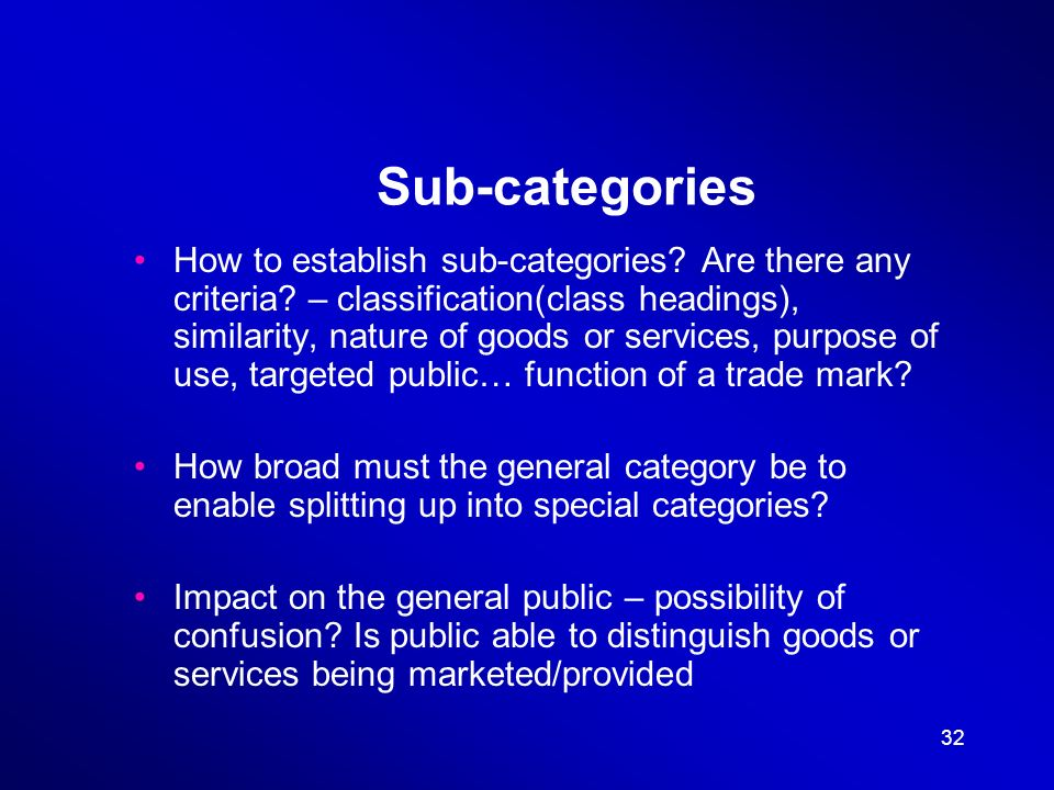 32 Sub-categories How to establish sub-categories.