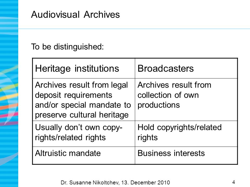 4 Audiovisual Archives To be distinguished: Dr. Susanne Nikoltchev, 13.