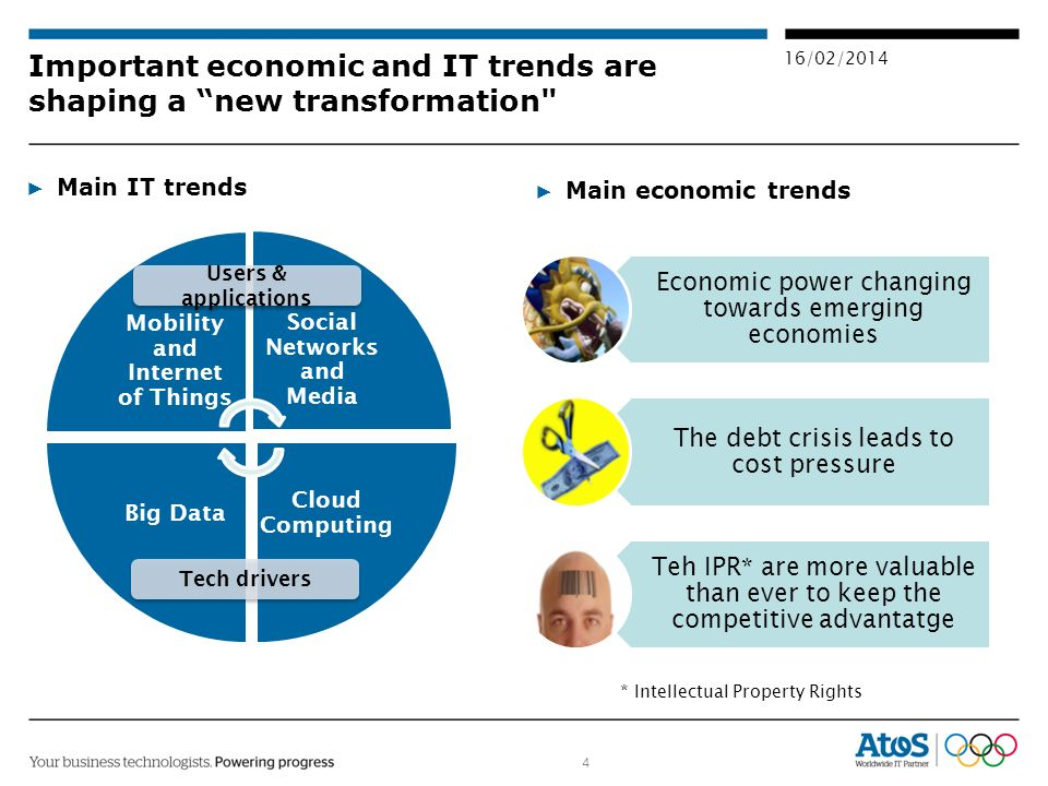 4 16/02/2014 Main IT trends Important economic and IT trends are shaping a new transformation Mobility and Internet of Things Social Networks and Media Cloud Computing Big Data Tech drivers Users & applications Main economic trends Economic power changing towards emerging economies The debt crisis leads to cost pressure Teh IPR* are more valuable than ever to keep the competitive advantatge * Intellectual Property Rights