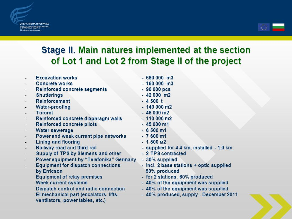 Stage II. Main natures implemented at the section of Lot 1 and Lot 2 from Stage II of the project -Excavation works - 680 000 m3 -Concrete works- 160